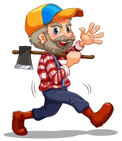 Illustration of a lumberjack on a white background Vector