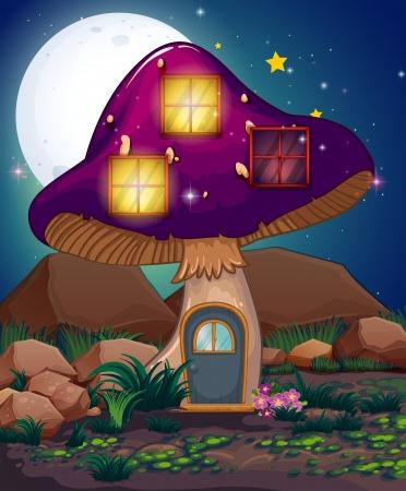 Illustratie van een violette paddestoelhuis