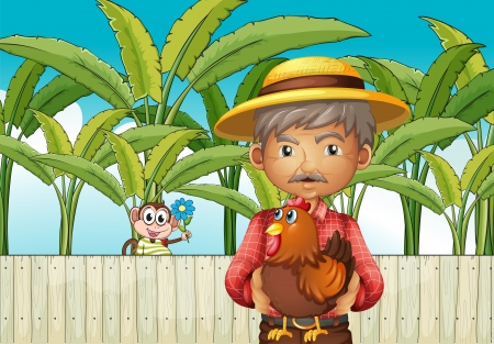 banana leaf: Illustration of an old man holding a rooster standing in front of the fence with a monkey