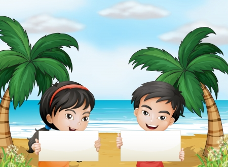 Illustration of the two adorable kids at the beach with empty signboards Vector