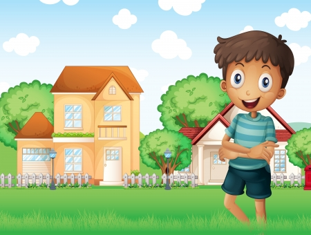 Illustration of a smiling boy standing in front of the neighborhood Vector