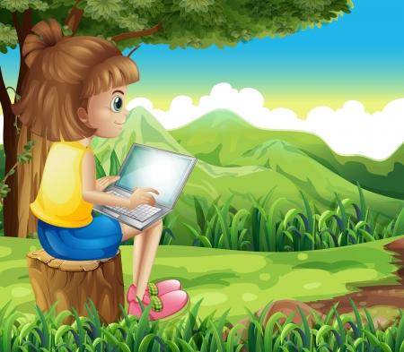 Ilustración de una niña de navegar por la red en el bosque