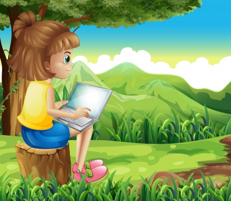 niña: Ilustración de una niña de navegar por la red en el bosque