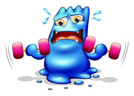tiresome: Illustration of a blue monster exercising on a white background Illustration