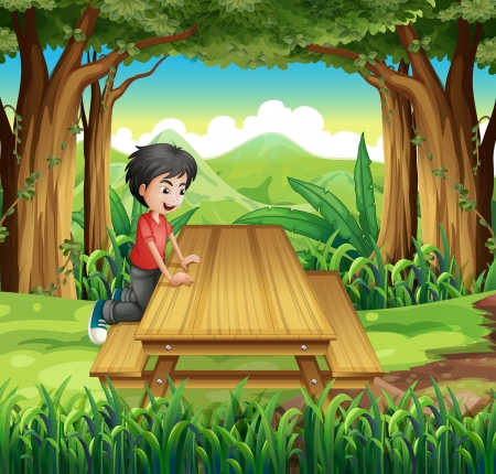 bench alone: Illustration of a boy in the forest with a wooden table and bench