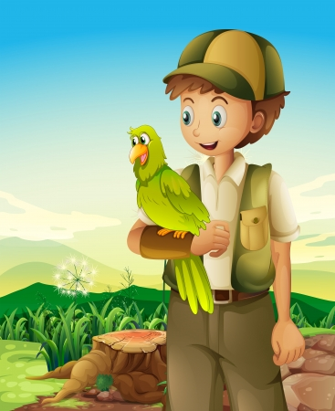 illegal logging: Illustration of a boyscout holding a parrot