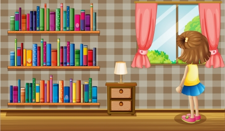 window curtains: Illustration of a girl inside the house with a collection of books