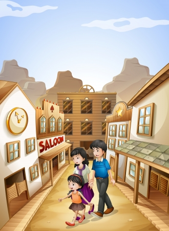 Illustration of a family going to the saloon bar Vector
