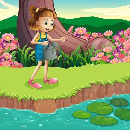Illustration of a young girl standing at the riverbank holding a sprinkler Stock Vector - 22065773