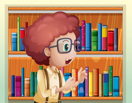 smart boy: Illustration of a smart boy at the library