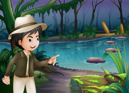 Illustration of a young boy pointing the log with algae Vector