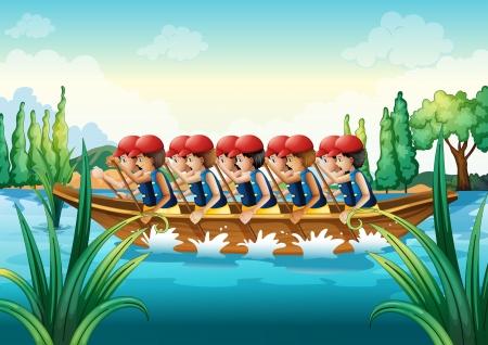 multiple image: Illustration of a group of men boating