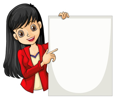explain: Illustration of a girl with a long hair holding an empty signage on a white background