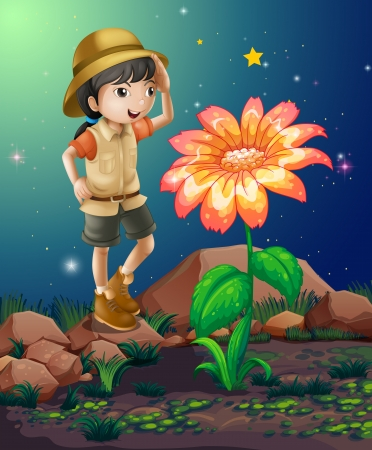 girl scout: Illustration of a girlscout near the giant flower