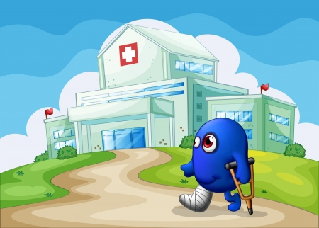 hospital building: Illustration of an injured blue monster going to the hospital