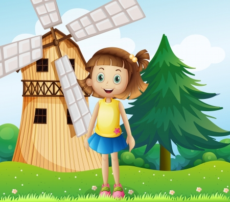 Illustration of a young girl near the farmhouse with a windmill Vector
