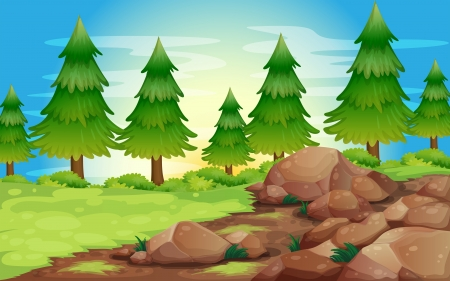 surrounding: Illustration of the big stones and pine trees Illustration
