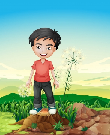 cutting grass: Illustration of a smiling boy standing above a stump