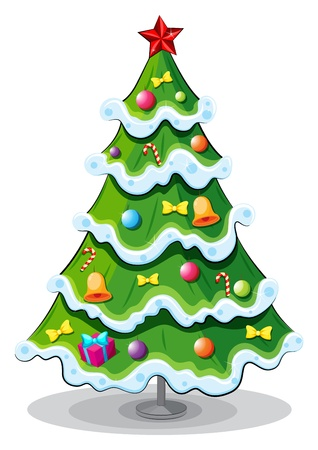 tall tree: Illustration of a christmas tree on a white background