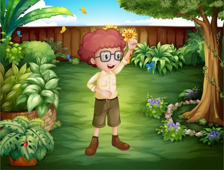smart boy: Illustration of a smart looking boy at the backyard