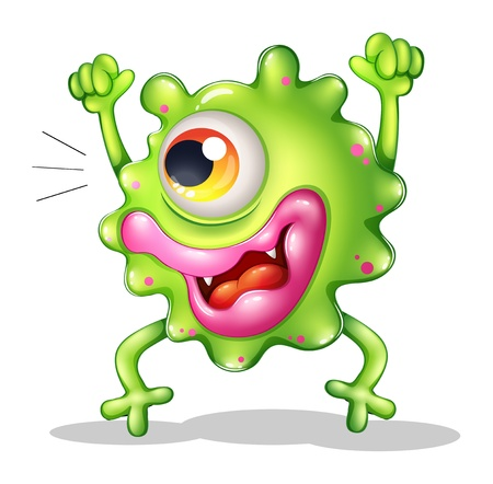 animated alien: Illustration of a very excited one-eyed monster on a white background