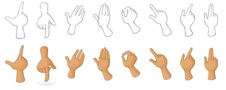 zeichnen: Illustration der verschiedenen Handgesten auf einem weißen Hintergrund Illustration
