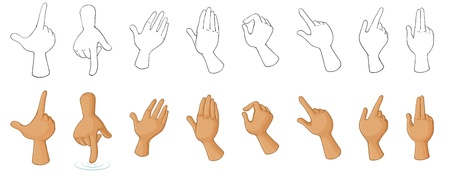Illustration of the different hand gestures on a white background Ilustração