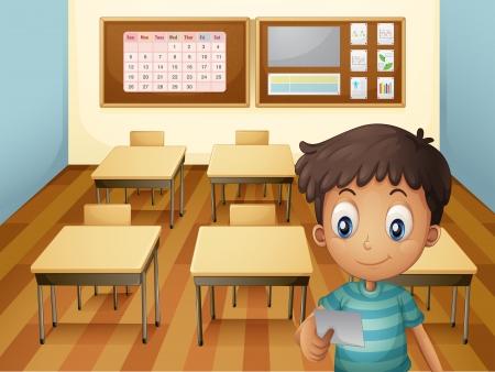 salle classe: Illustration d'un jeune gar�on � l'int�rieur de la salle de classe