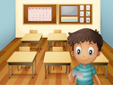 Illustration of a young boy inside the classroom Vector