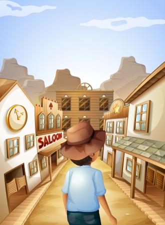 Illustratie van een jonge man met een hoed gaan naar de saloon bar