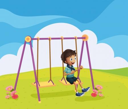 Illustration of a young boy swinging Illustration