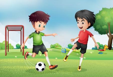 dětské hřiště: Ilustrace dvou chlapců hrajících fotbal v blízkosti parku Ilustrace