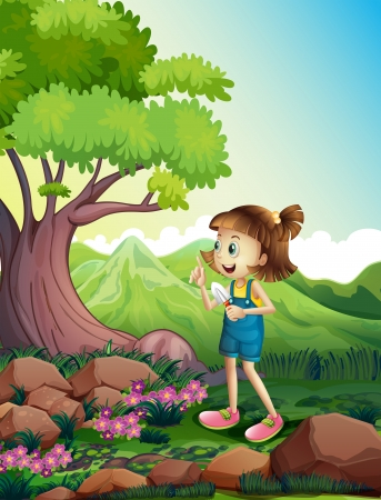 Illustration of a girl holding a shovel at the forest Stock Vector - 22065855