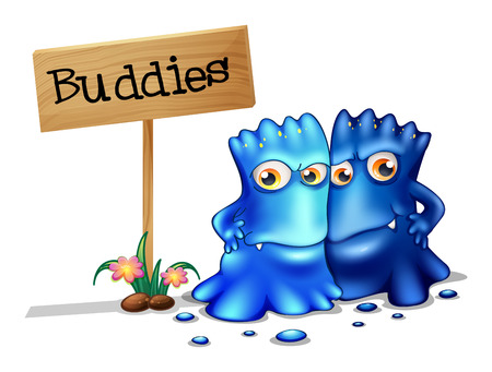 Illustration of the two monster friends near a signboard on a white background Illustration