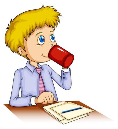 wooden work: Illustrazione di un uomo d'affari di bere caff� su uno sfondo bianco