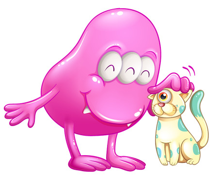 beanie: Illustration of a pink beanie monster with a cat on a white background