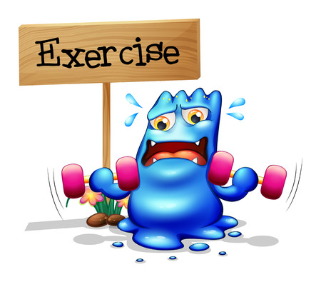Illustration of a monster exercising in front of the signboard on a white background Vector