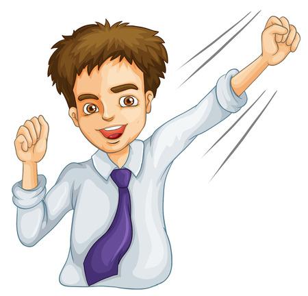 rejoicing: Illustrazione di un icona del maschio di affari su uno sfondo bianco Vettoriali