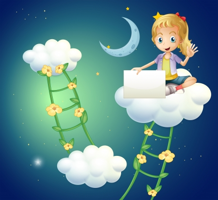 Illustration of a girl sitting above a cloud holding an empty signage Vector