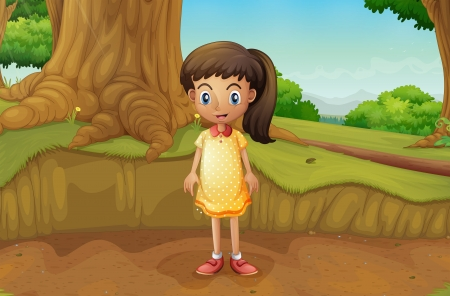 Illustration of a little girl near the roots of a giant tree Stock Vector - 22210687