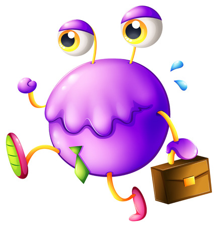 Illustration of a purple monster with a new job on a white background Vector