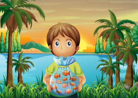 improvised: Illustration of a boy standing near the riverbank while holding a plastic of fish