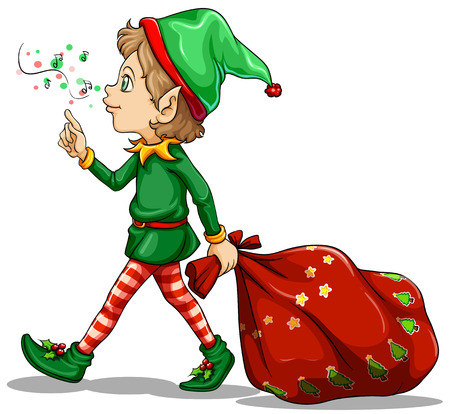 Ilustración de un joven elfo arrastrando un saco de regalos en un fondo blanco