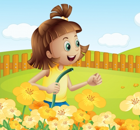 Illustration of a girl watering the plants in the garden Vector