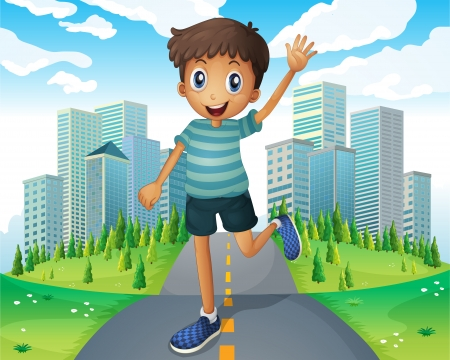 establishments: Illustration of a boy waving while running in the middle of the road