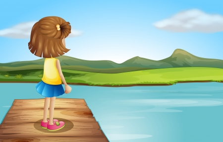 sky and grass: Illustration of a little girl standing at the wooden port