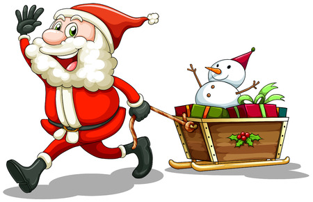 Illustration of a smiling Santa pulling a sleigh on a white background Vector
