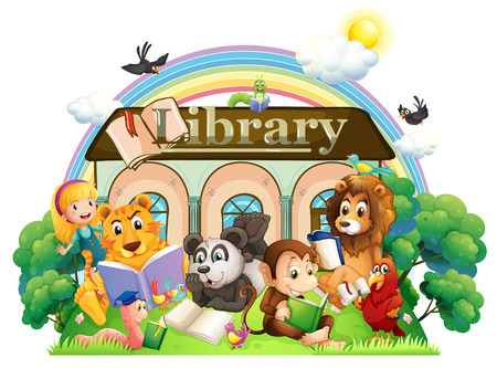 fantasy book: Illustration of the animals reading in front of the library on a white background