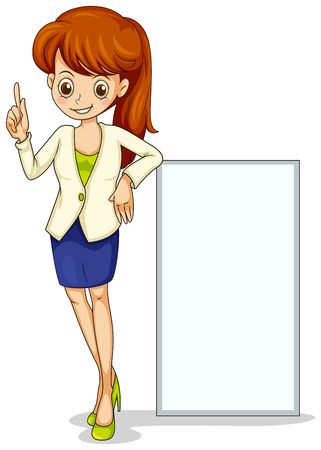 formal attire: Illustration of a young business icon standing beside an empty signage on a white background