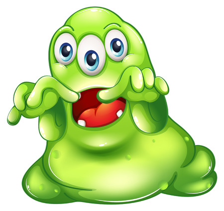 Illustration of a green monster in horror on a white background Vector